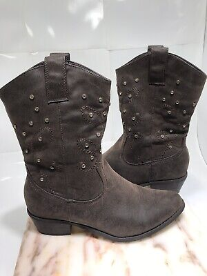Boots Cowboy Chocolate Brown Jewel Rhinestone Leather Suede Calf Women Size 8.5