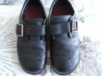 Clarks Girls  Black Leather  School Shoes Size 11.5 F Hook/Loop Strap