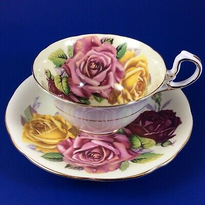 Aynsley Three Cabbage Roses Ivory Bone China Tea Cup And Saucer