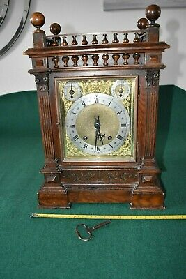 Lovely Antique Winterhalder & Hofmeier Bracket Clock [Oak Cased]