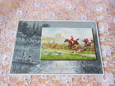 Victorian Christmas Card/Hunting Scene/Raphael Tuck