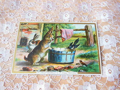 Victorian Christmas Card/Rabbits in the Country