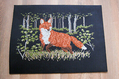 Fox in the Field, on black background needlepoint worked canvas. GC