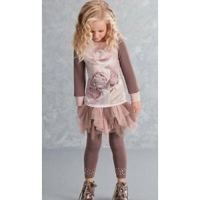 NEW £100 Kate Mack Rose Dress Top Tutu Leggings Bottoms Pants Brown Pink Set 4 5