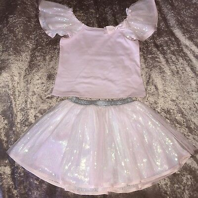 £91 NEW Kate Mack Pom Pom Party Frill Top Tutu Skirt Pink Sequin Dress Set 5 4