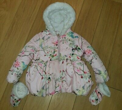 Girls Ted Baker coat and mittens age 4-5. Good condition