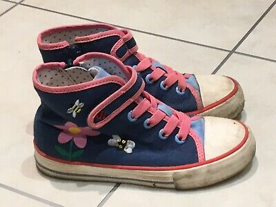 M & S - Girls Flower Canvas Shoe Boots - Size 10 - Good Condition