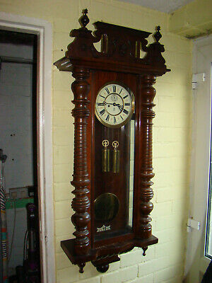 Gustav Becker Vienna twin weight wall clock good working order for light restore