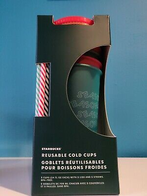 Starbucks 2019 Holiday Christmas Winter Reusable Cold Cups 5 pack w/ Straws New