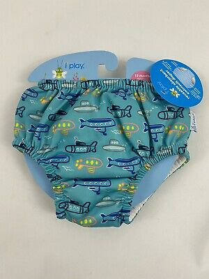 I Play Reusable Absorbant Swimsuit Diaper Aqua Submarine 12months 18-22 lbs