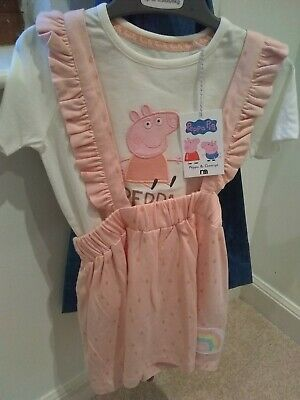BNWT Peppa Pig Girls Pink Pinafore with top outfit set age 3-4 years Mothercare