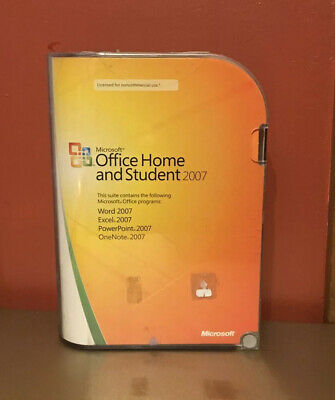 Microsoft Office Home and Student Suite 2007 Software CD Disc W/ Key