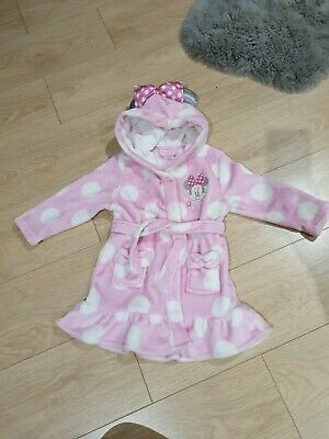Girls soft fluffy disney Minnie Mouse Dressing Gown Age 2-3 years worn once