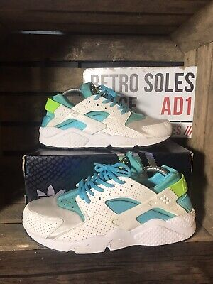 Nike Air Huarache Trainers UK Size 8.5 White Lime Turquoise