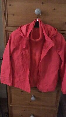 Mountain warehouse girls coral pink water proof and fleece hooded jacket 9-10y