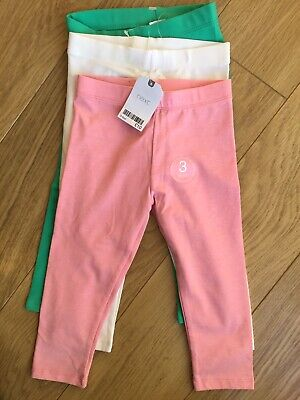 BNWT Next Girl 3 Pack Cropped Leggings Bundle 3-4 Years 🥰 New Pink Green White