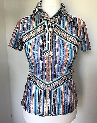 Vintage 60s 70s womens short sleeved top mod psychedelic scooter soul size 8