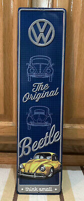 Volkswagon Sign VW Beetle Think Small Gas Oil Garage Tools Parts Vintage Style