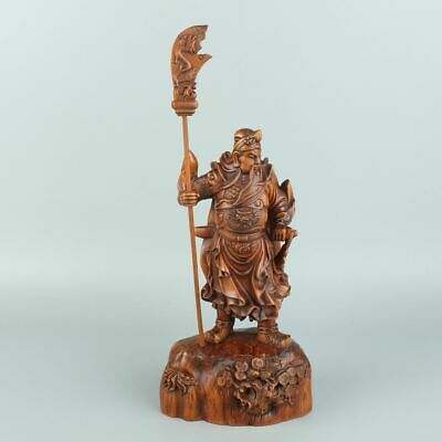Chinese Exquisite Hand carved Guan Yu Carving Boxwood statue