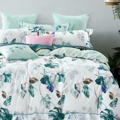 Single/KS/Double/Queen/King/Super K 100% Cotton Quilt/Duvet Cover Set-Plantain