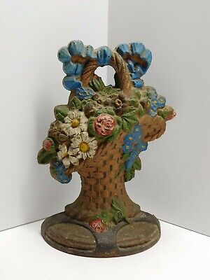 Vintage Cast Iron Painted Doorstop Flowers In Handled Basket Bouquet Heavy L@@K!