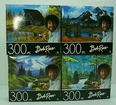 Lot of 2 Bob Ross 300 Piece Jigsaw Puzzle  NEW Mountain Hideaway,Secluded Bridge