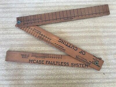 Vintage NZ Timber McCabe Faultless System of Cutting Seamstress Extendable Rule