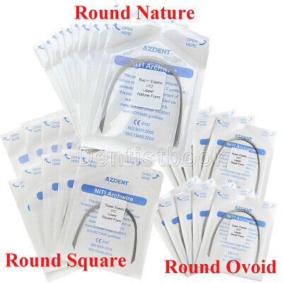 10X Dental Orthodontic Super Elastic Niti Round Arch Wires Natural/Ovoid/Square