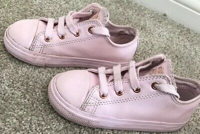 Girls Pink And Rose Gold Leather Converse Trainers / Pumps / Shoes UK Size 9