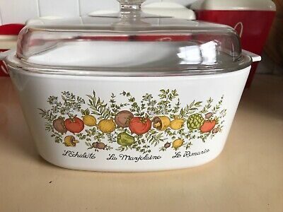 VINTAGE 1970'S CORNING WARE L'ECHALOTE SPICE Of LIFE  LE ROMARIN 5 L CASS + LID