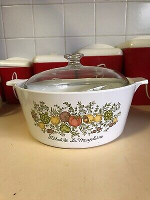 VINTAGE 1970'S CORNING WARE L'ECHALOTE SPICE Of LIFE  LE ROMARIN 2.5L CASS + LID
