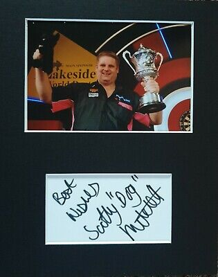 BDO Darts, Scotty 'Dog' Mitchell, hand signed in person mounted autograph.