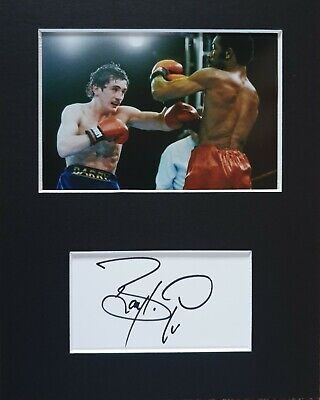 Barry McGuigan 'The Clones Cyclone', hand signed in person mounted autograph.