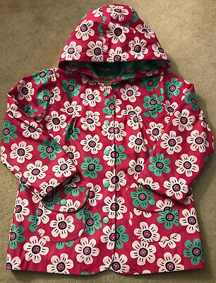 Hatley  Raincoat  floral Girls Waterproof Coat With Towelling Lining Aged 4-5 Yr