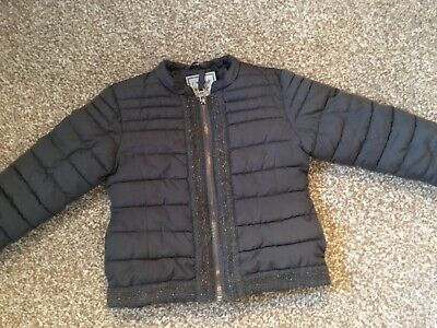 NEXT girls bomber style jacket - dark grey with sequence detail - age 3 years