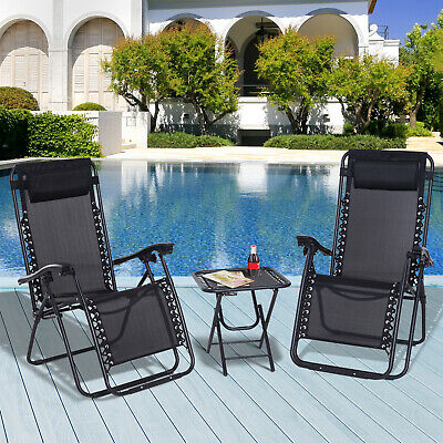 Outsunny 3PC Zero Gravity Chairs Sun Lounger Table Set Reclining W/ Cup Holders