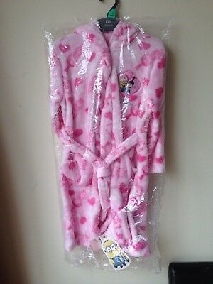 Mothercare Pink Soft Fleece Minions Girls Dressing Gown Robe 5-6 years NEW
