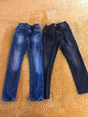 Two Pairs Boys Next Skinny Jeans. Black And Blue. Age 4 Years.