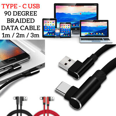90 Degree BRAIDED USB TYPE-C Charging/Data Sync Transfer Lead Cable For SAMSUNG