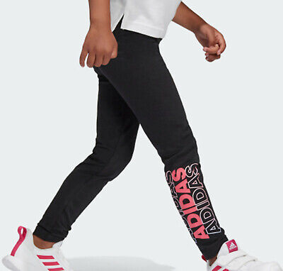 Girls adidas training leggings black pink print NEW Age 8-10 NEW LAST FEW RARE