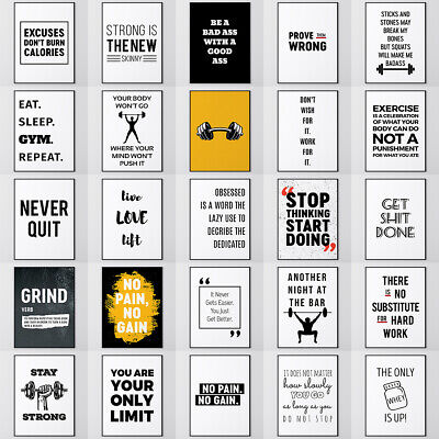 Large Motivational Gym Posters Workout Quotes Funny Prints A1 A2 A3 A4 A5 Sizes