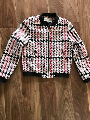 Girls Gorgeous River Island Dogtooth Black Cream Pink Red Bomber Lined Jacket 11