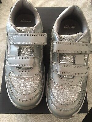 Clarks Girls Sparkly Silver Trainers 12.5 G Hardly Worn