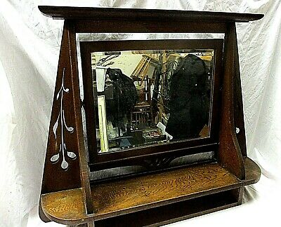 Antique Arts & Crafts Solid Mahogany Mirror Over Mantle Hanging Table Hall