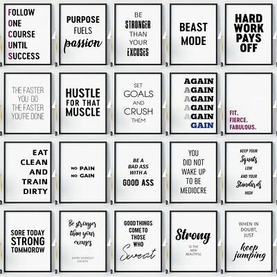 Gym Workout Posters Large Sizes Motivational Exercise Quotes Wall Art Prints