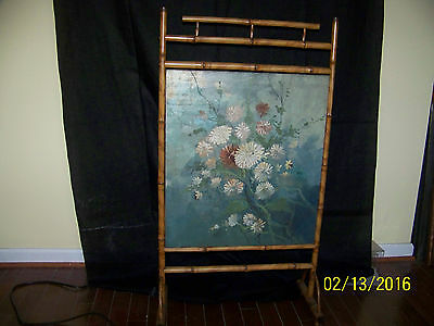 Antique Chinese Fire Screen Original Oil/HandPainted Bamboo Wood Stand