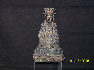 Chinese Ming/Qing Dy Black Patinated Copper/Metal Buddha Sitting Figurine