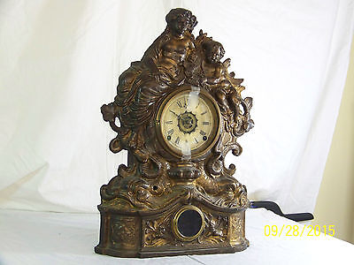 Antique c19th Century Waterbury Bronze/Metal Mantle Clock