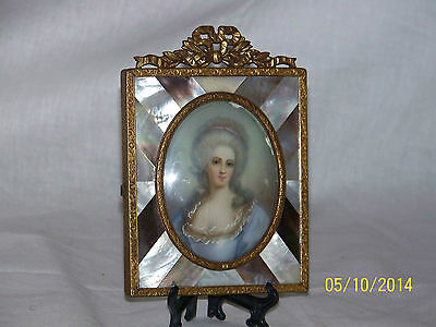 Antique c1890 French Gilded Bronze Mother Pearl Richard Cosway Painting Frame