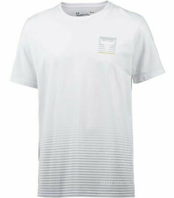 Under Armour UA Project Rock Tee Mens Gym Fitness Core White Tshirt